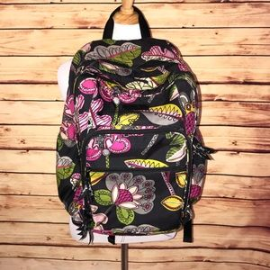 Vera Bradley Black Bold Floral Pattern Backpack